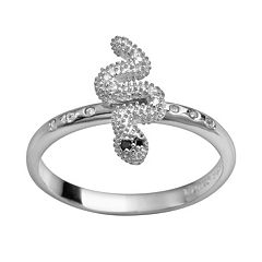 Sophie Miller Sterling Silver Black & White Cubic Zirconia Snake Ring
