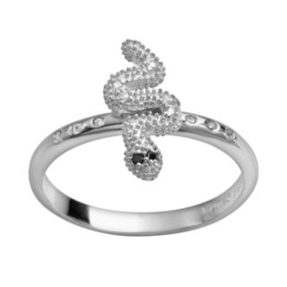 Sophie Miller Sterling Silver Black and White Cubic Zirconia Snake Ring