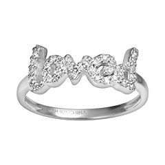 Sophie Miller Sterling Silver Cubic Zirconia 'Loved' Ring