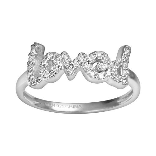 "Sophie Miller Sterling Silver Cubic Zirconia ""Loved"" Ring"