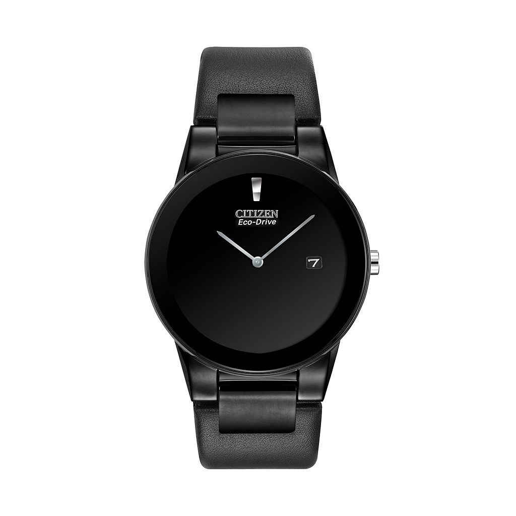 Citizen Eco-Drive Stainless Steel Black Ion Leather Watch - AU1065-07E - Men