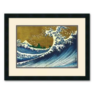 Big Wave (from 100 views of Mt. Fuji) Framed Art Print by Katsushika Hokusai