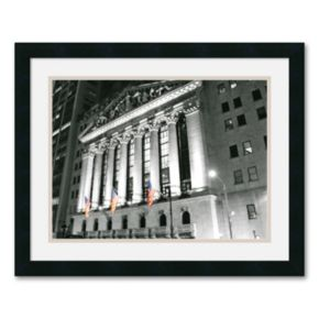 New York Stock Exchange at Night Framed Art Print by Phil Maier