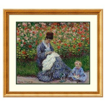 ''Camille Monet with a Child in Painter's Garden at Argenteuil, 1875'' Framed Wall Art by Claude Monet