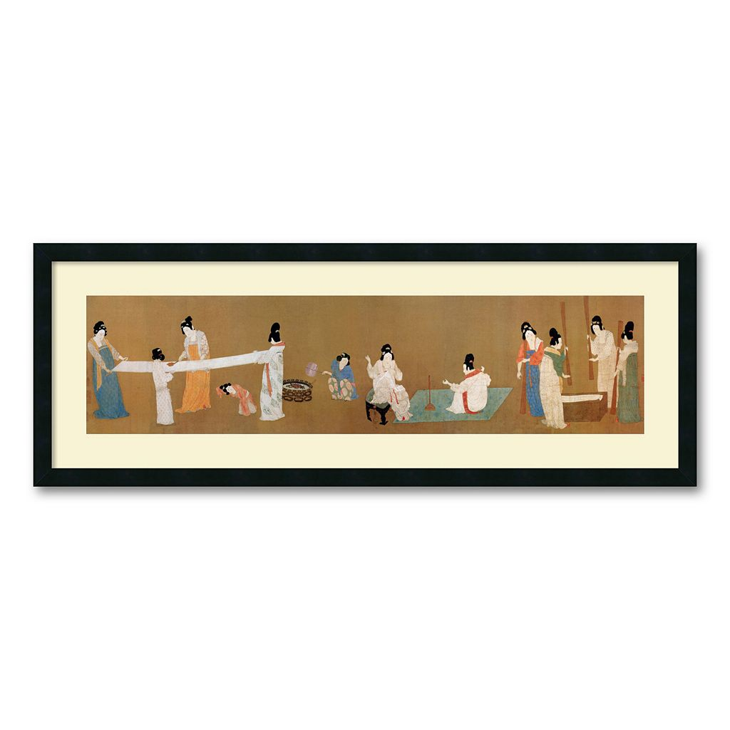 ''Court Ladies Preparing Newly Woven Silk (detail)'' Framed Wall Art by Emperor Huizong