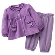 Chaps Shirred Top and Striped Pants Set - Baby