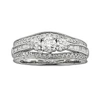 14k White Gold 1-ct. T.W. IGL Certified Round-Cut Diamond 3-Stone Ring