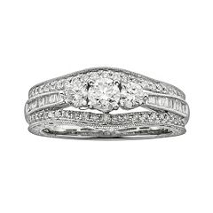 14k White Gold 1 ctT.W. IGL Certified Round-Cut Diamond 3-Stone Ring