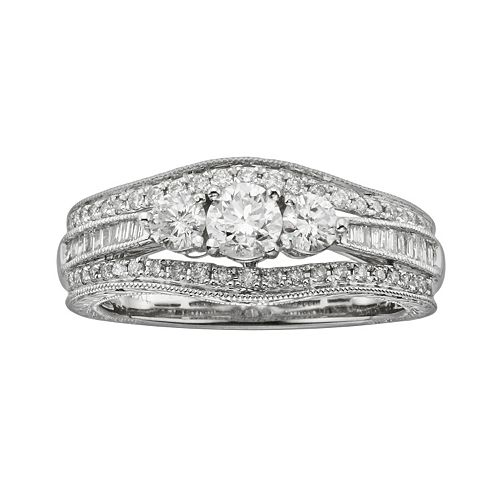 14k White Gold 1-ct. T.W. IGL Certified Round-Cut Diamond 3-Stone Ring
