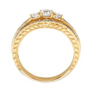 14k Gold 1-ct. T.W. IGL Certified Round-Cut Diamond 3-Stone Ring