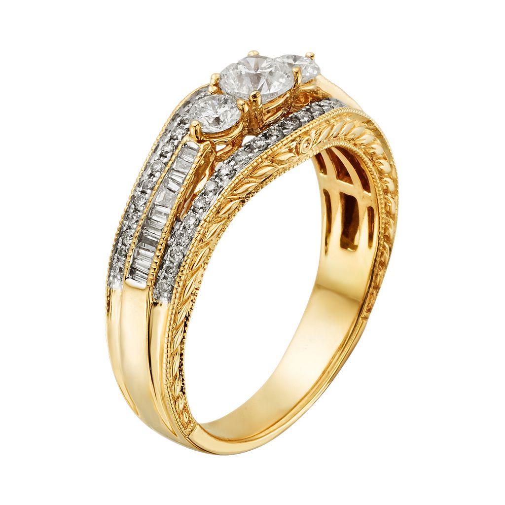 14k Gold 1-ct. T.W. IGL Certified Round-Cut Diamond 3-Stone Ring