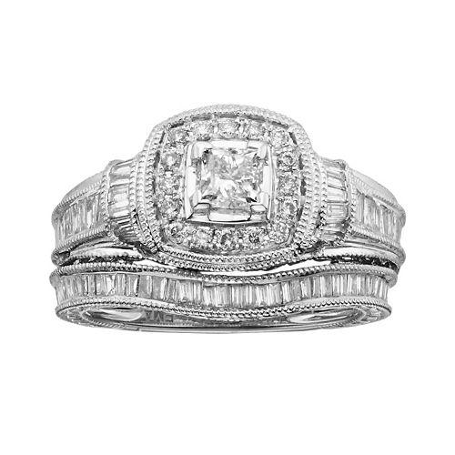 14k White Gold 1-ct. T.W. IGL Certified Princess-Cut Diamond Frame Ring Set