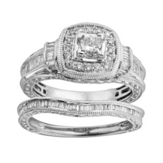 14k White Gold 1-ct. T.W. IGL Certified Princess-Cut Diamond Frame Ring Set