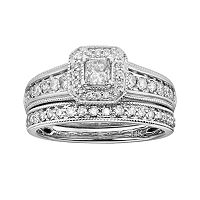 14k White Gold 1 ctT.W. IGL Certified Princess-Cut Diamond Frame Ring Set