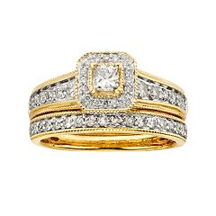 14k Gold 1 ctT.W. IGL Certified Princess-Cut Diamond Frame Ring Set