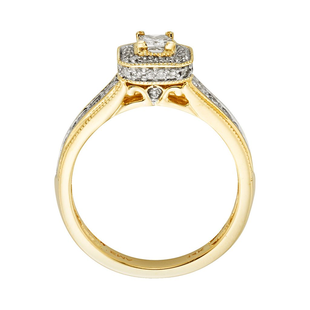 14k Gold 1-ct. T.W. IGL Certified Princess-Cut Diamond Frame Ring Set