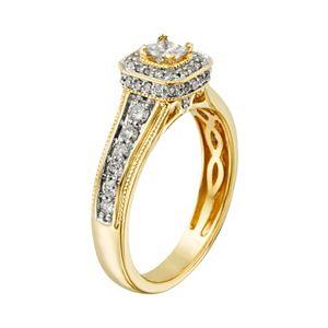 14k Gold 1-ct. T.W. IGL Certified Princess-Cut Diamond Frame Ring Set