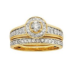 14k Gold 1 ctT.W. IGL Certified Round-Cut Diamond Frame Ring Set