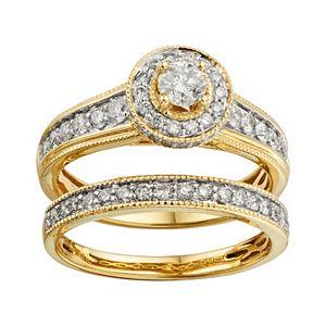 14k Gold 1-ct. T.W. IGL Certified Round-Cut Diamond Frame Ring Set