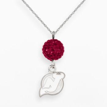 LogoArt New Jersey Devils Sterling Silver Crystal Ball Pendant