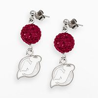 LogoArt New Jersey Devils Sterling Silver Crystal Ball Drop Earrings