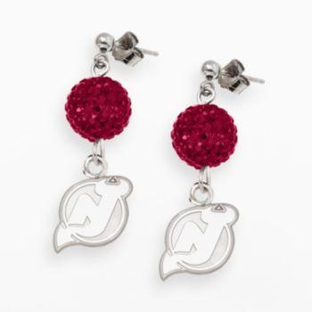 LogoArt New Jersey Devils Sterling Silver Crystal Ball Drop Earrings