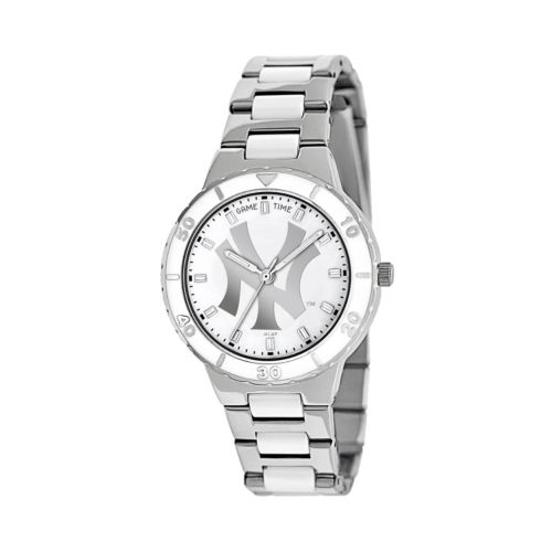 Game Time Pearl Series New York Yankees Stainless Steel and White Ceramic Mother-of-Pearl Watch - ML...
