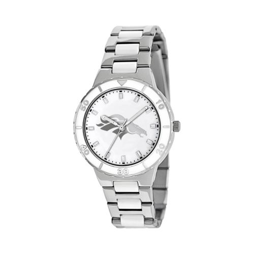 Game Time Pearl Series Denver Broncos Silver Tone and White Ceramic Mother-of-Pearl Watch - NFL-PEA-DEN - Women