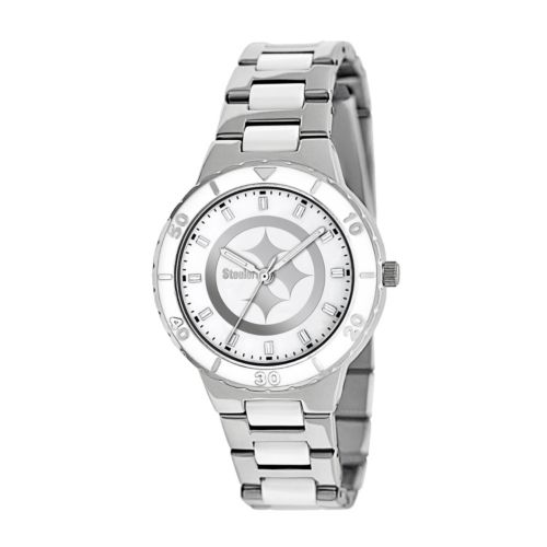Game Time Pearl Series Pittsburgh Steelers Stainless Steel and White Ceramic Mother-of-Pearl Watch - NFL-PEA-PIT - Women