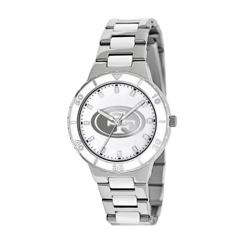 Game Time Pearl Series San Francisco 49ers Stainless Steel and White Ceramic Mother-of-Pearl Watch - NFL-PEA-SF - Women