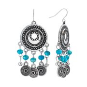 SONOMA life + style Silver Tone Bead Textured Drop Earrings