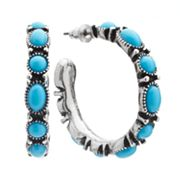 SONOMA life + style Silver Tone Cabochon Hoop Earrings