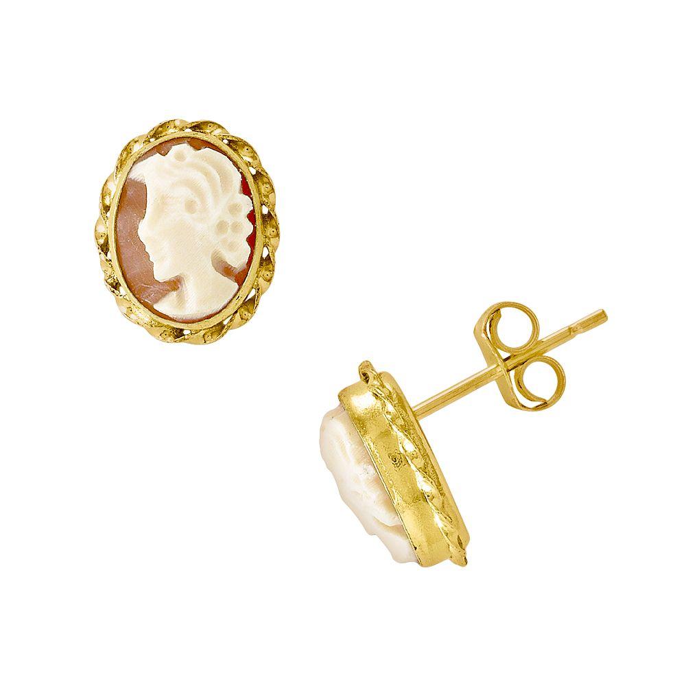14k Gold Cameo Stud Earrings