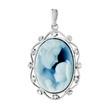 14k White Gold Agate Diamond Accent Heaven's Gift Cameo Pendant