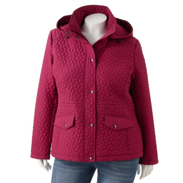 Weathercast Hooded Quilted Jacket Women,s Plus
