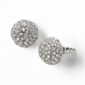 Simply Vera Vera Wang Silver Tone Simulated Crystal Dome Button Stud Earrings