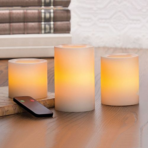 Inglow 3 Pc Flameless Led Pillar Candle Set