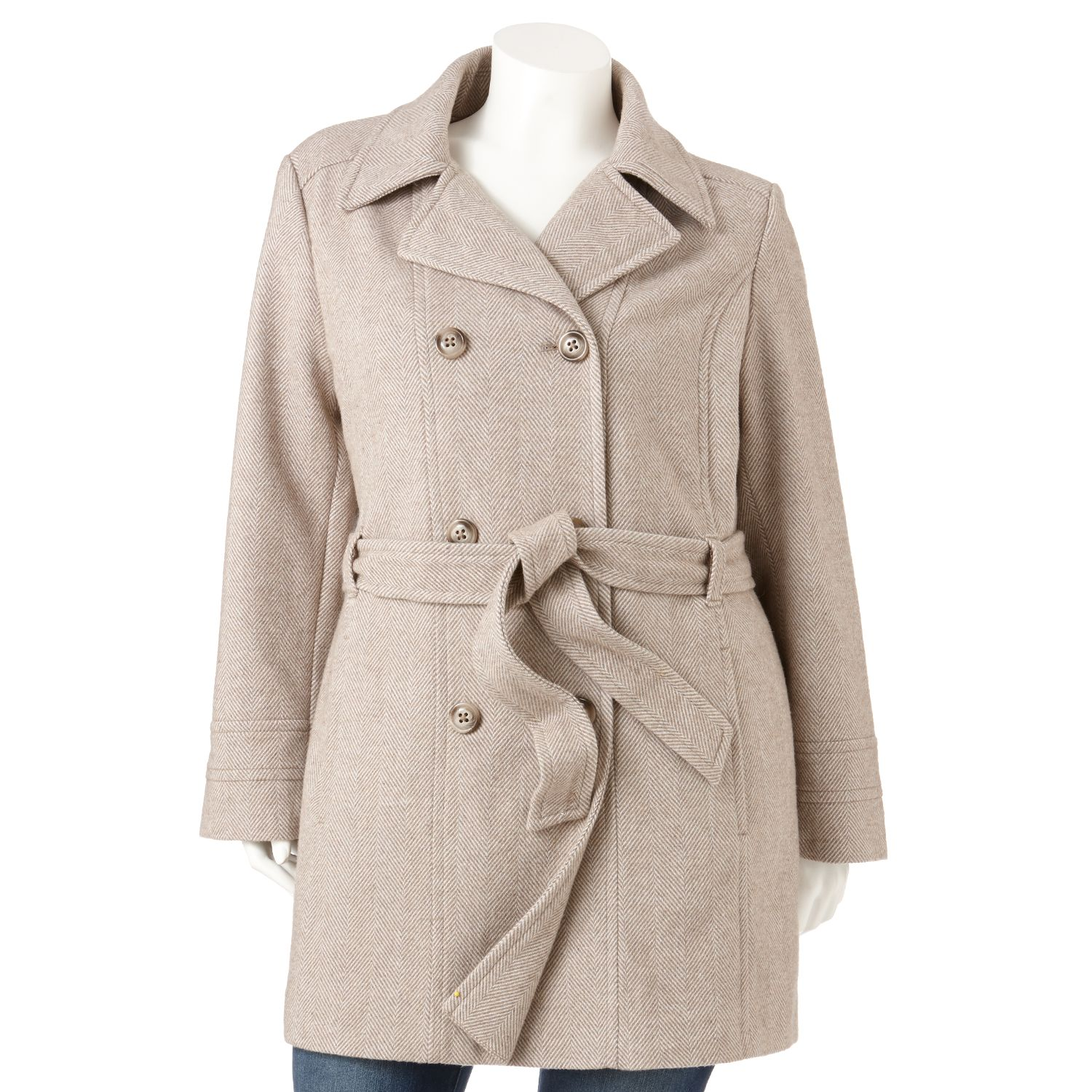 Croft & Barrow Herringbone Wool-Blend Coat - Women's Plus