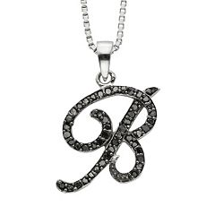 Sterling Silver 1/4 ctT.W. Black Diamond Initial Pendant