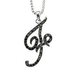 Sterling Silver 1/4-ct. T.W. Black Diamond Initial Pendant