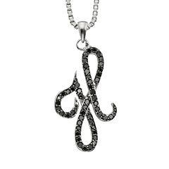 Sterling Silver 1/4 ctT.W. Black Diamond Initial Pendant
