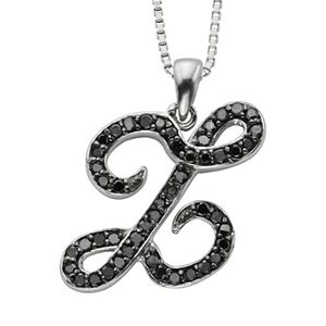 Sterling Silver 1/4-ct. T.W. Black Diamond Initial Pendant