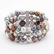 Sterling Silver Dyed Freshwater Cultured Pearl Multirow Stretch Bracelet