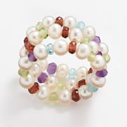 Freshwater Cultured Pearl and Gemstone Bead Stretch Ring Set