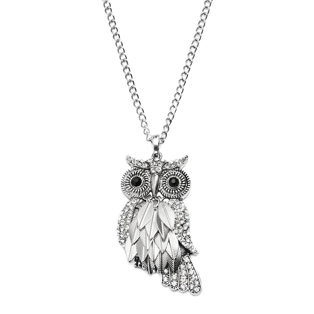 Mudd® Silver Tone Simulated Crystal Owl Pendant