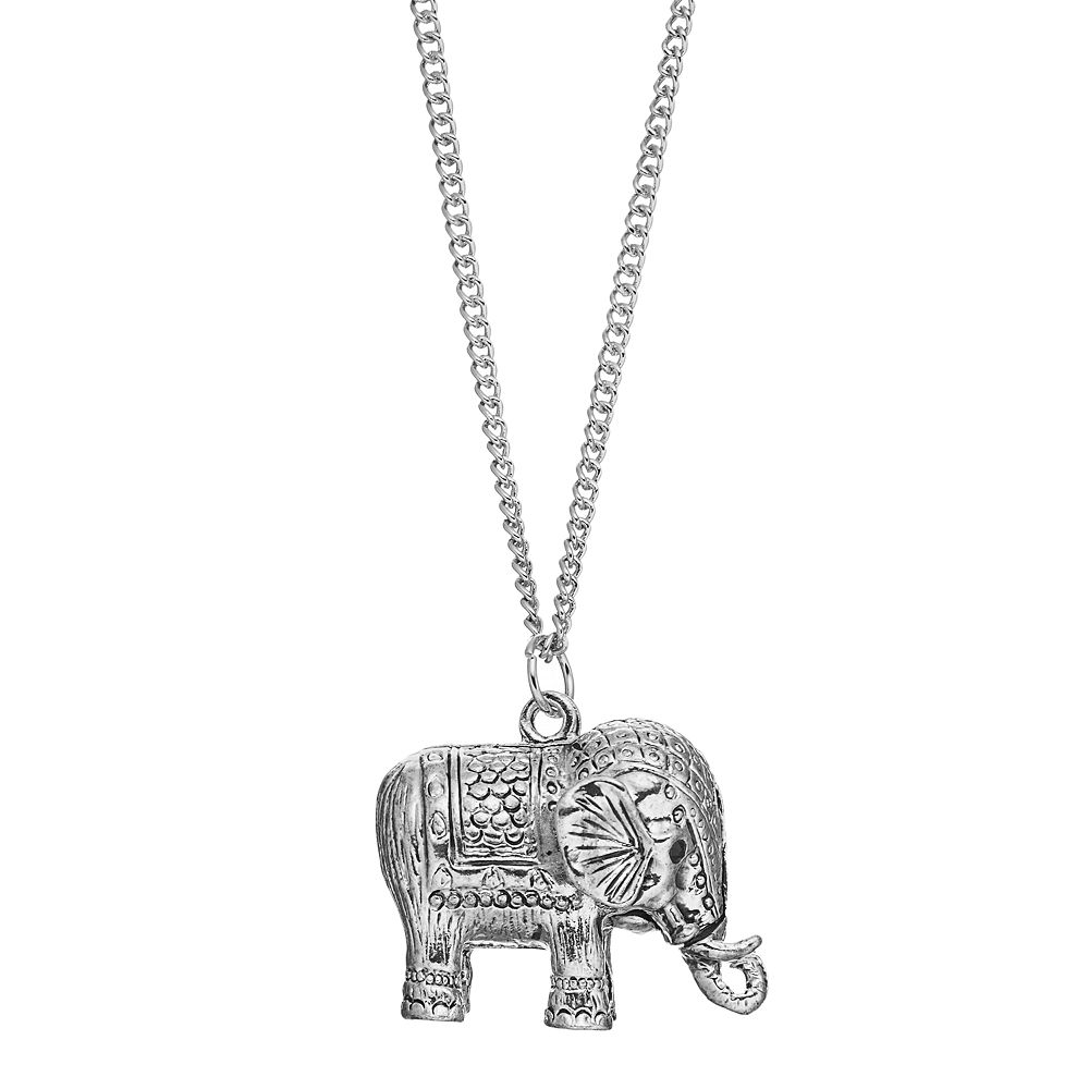 cut elephant necklace pendant com dp jewelry rose amazon gold diamond