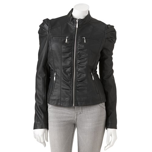 19bcb822c4 J2 Faux-Leather Ruched Jacket - Juniors