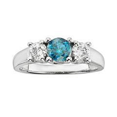 14k White Gold 1 ctT.W. Round-Cut IGL Certified  Blue & White Diamond 3-Stone Ring