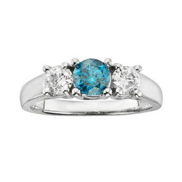 14k White Gold 1-ct. T.W. Round-Cut IGL Certified Blue & White Diamond 3-Stone Ring