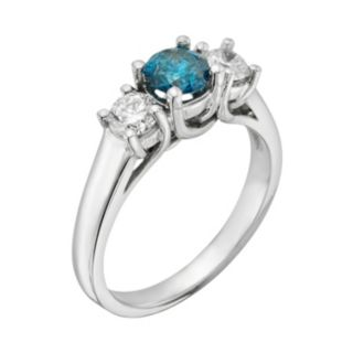 14k White Gold 1-ct. T.W. Round-Cut IGL Certified Blue and White Diamond 3-Stone Ring